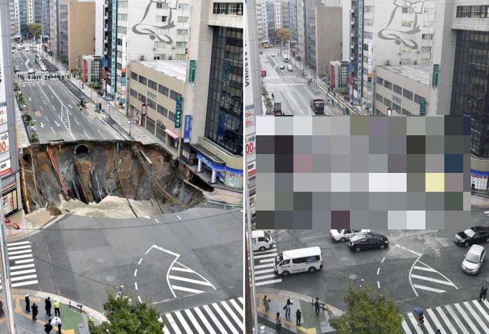 Гигантский провал в городе Фукуока заделали за неделю (фото)