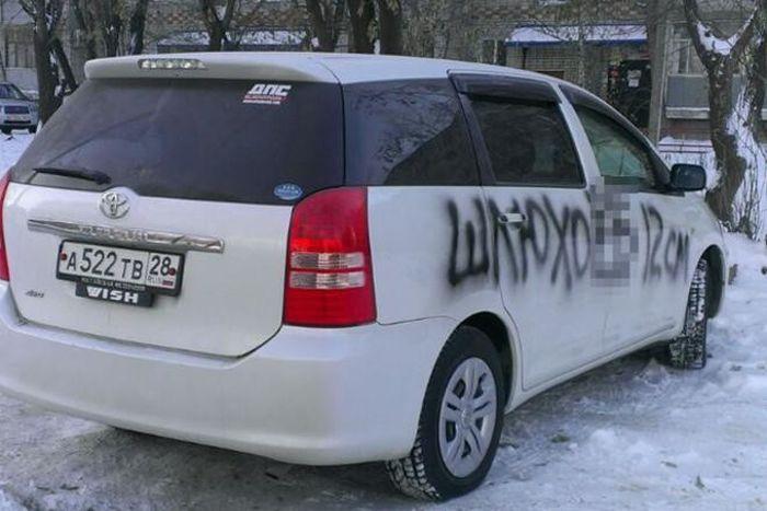 В Благовещенске автомобилист превратил оскорбительную надпись на машине в похвалу (3 фото)