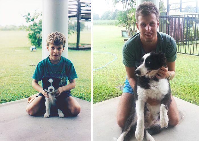 Собаки и хозяева спустя годы (35 фото)
