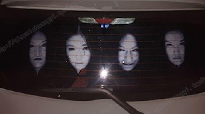 Жуткие наклейки для борьбы с любителями слепить светом дальних фар (9 фото)