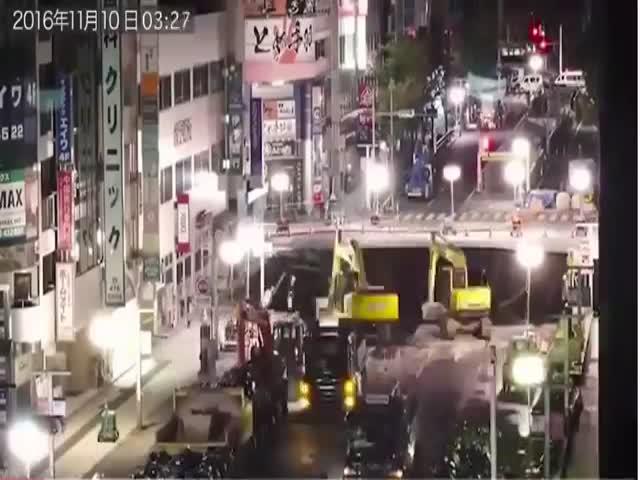 Как заделывали гигантский провал в Фукуоке