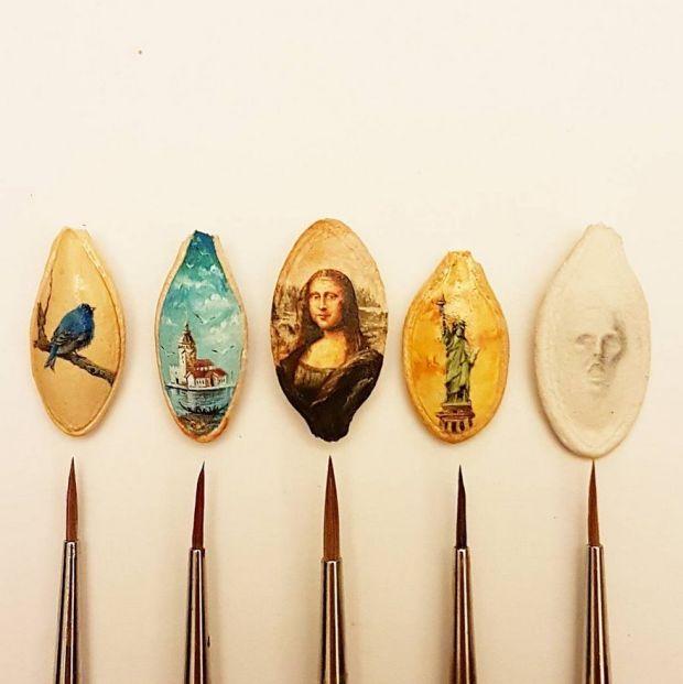 Миниатюрные рисунки на различных предметах (31 фото)