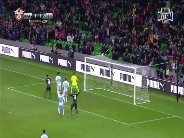 Гол Торнике Окриашвили на матче «Краснодар» - «Зенит»