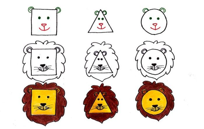 Как нарисовать животных с помощью простых фигур (10 картинок)