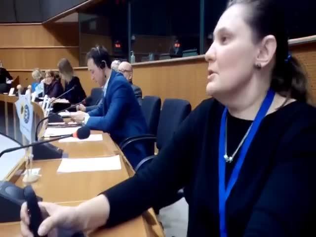 Выступление Татьяны Монтян в Европарламенте