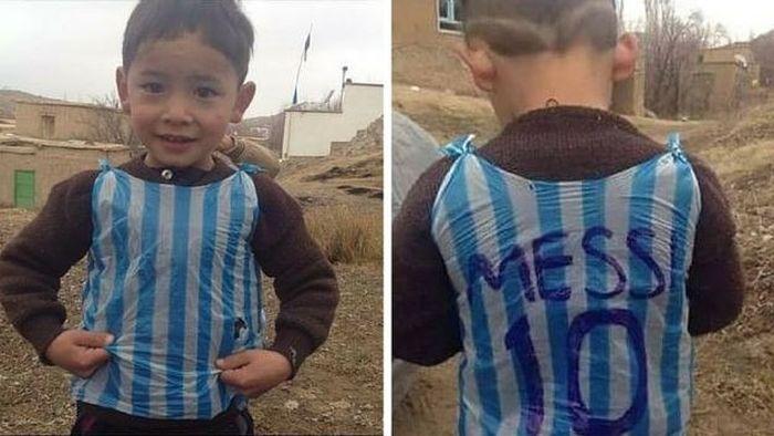 Афганский фанат Месси в майке из полиэтиленовых пакетов встретился со своим кумиром (3 фото + видео)