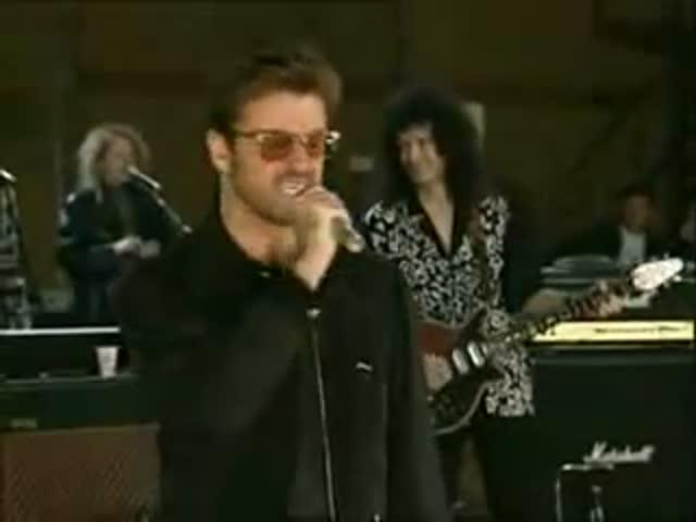 Джордж Майкл и Дэвид Боуи на репетиции концерта памяти Фредди Меркьюри
