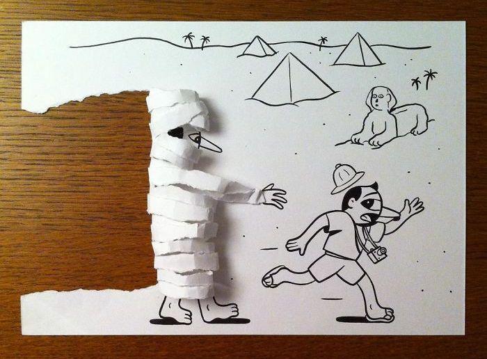 3d_paper_art_01 Kağıt Yırtarak veya Bükerek 2D-3D Resimler - Dane HuskMitNavn (30 Fotograf)