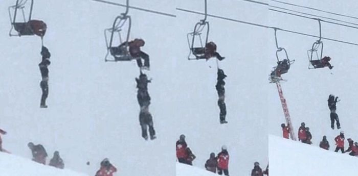 Спасение лыжника (2 фото)