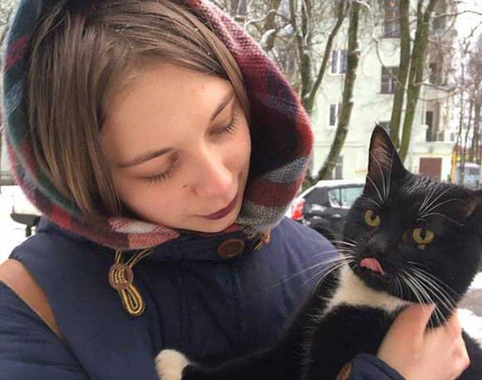 Мурманским коммунальщики спасли кота (4 фото)