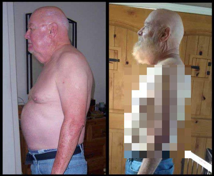 Пожилой мужчина сел на диету (2 фото)