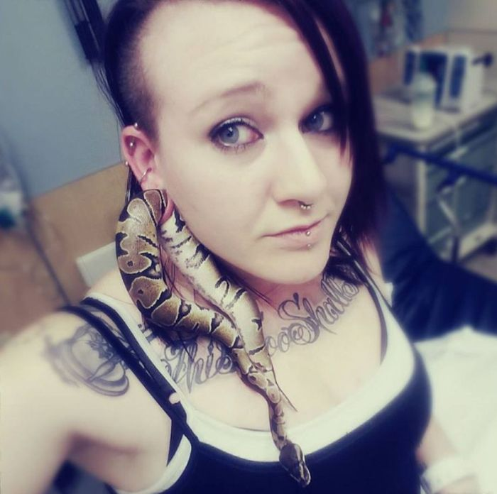 Змея застряла в ухе своей хозяйки (2 фото)