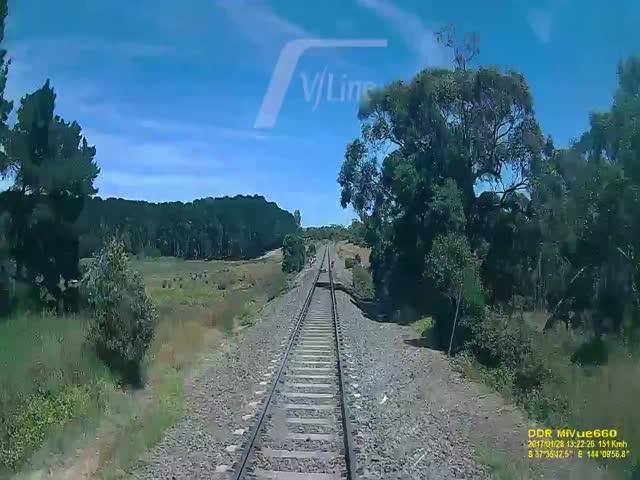 Мотоциклист чудом спасся от попадания под колеса поезда