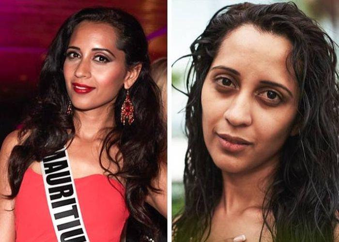 Участницы конкурса «Мисс Вселенная» с косметикой и без (14 фото)