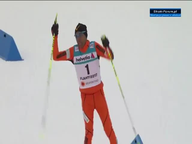 Венесуэльский лыжник Адриан Солано на квалификационной гонке ЧМ