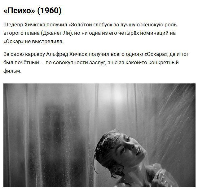 Культовые фильмы, которые не были отмечены «Оскаром» (8 фото)