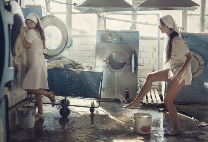 Фотосессия в прачечной (7 фото)