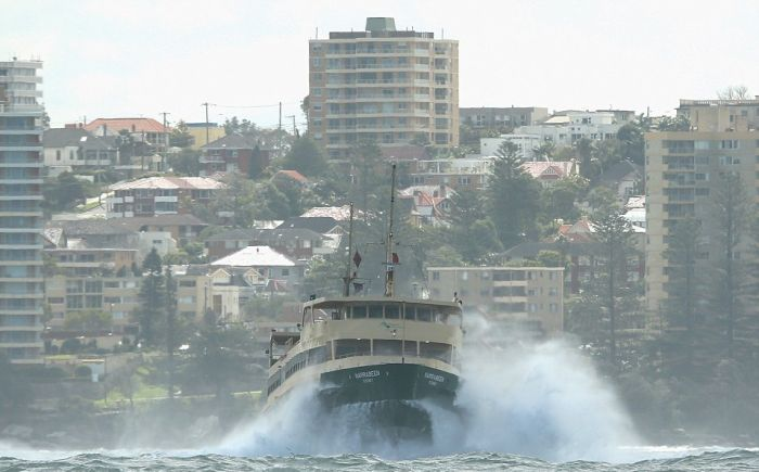 Сильные волны в гавани Сиднея (8 фото + 2 видео)