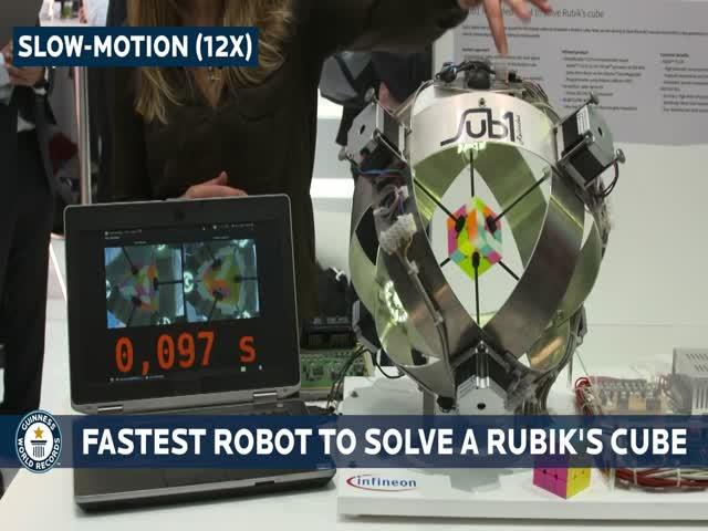 Рекордная сборка кубика Рубика роботом