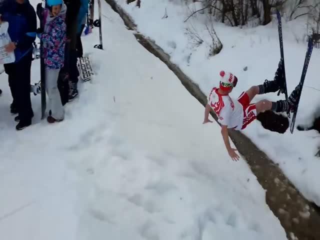 Отчаянный прыжок лыжника