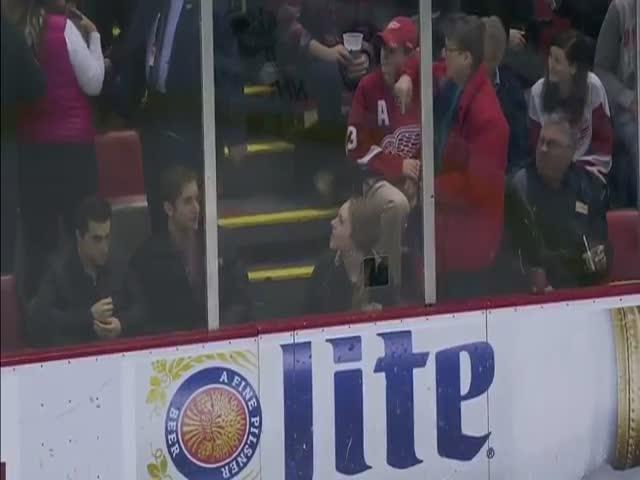 Хоккеист Франсуа Бошман разбил шайбой лицо болельщику