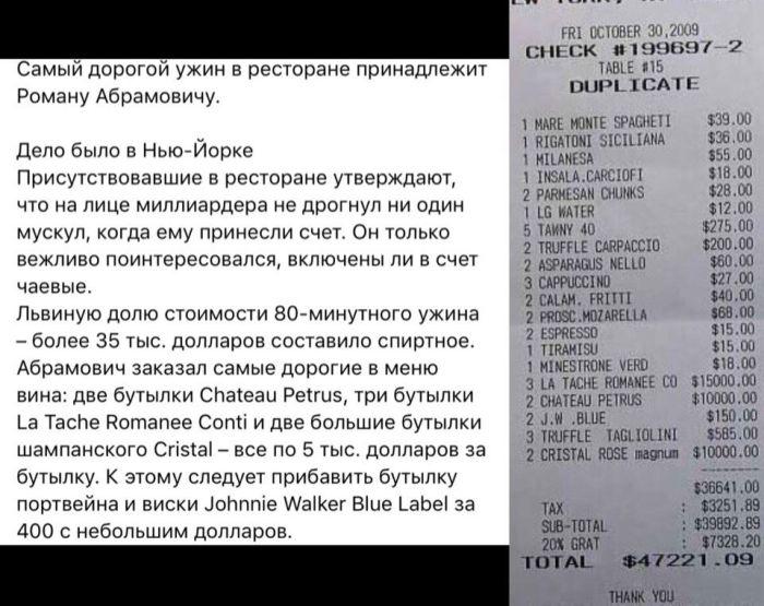 Ужин Романа Абрамовича против ужина простого студента (2 скриншота)