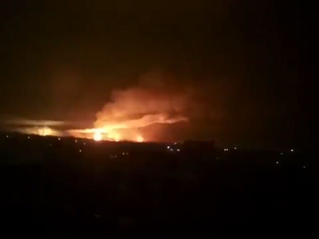 Пожар на сладе боеприпасов в Балаклее под Харьковом