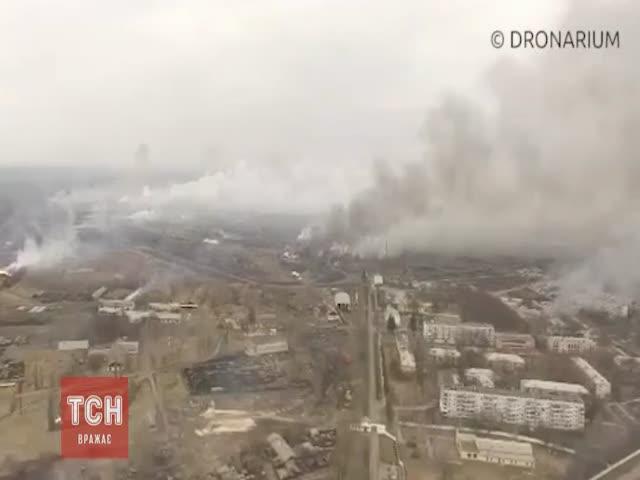 Последствия пожара на складе боеприпасов в Балаклее Харьковской области