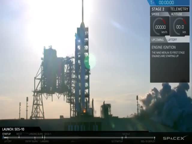 Компания SpaceX совершила повторный запуск и посадку первой ступени ракеты Falcon 9