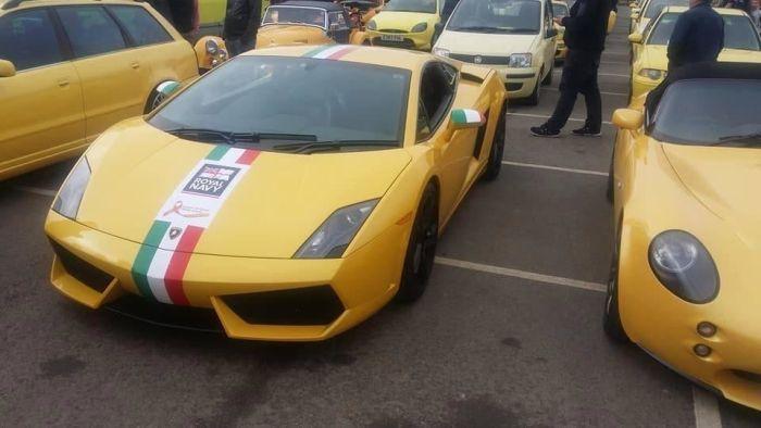 Сотни владельцев желтых автомобилей собрались, чтобы поддержать британского пенсионера (5 фото)