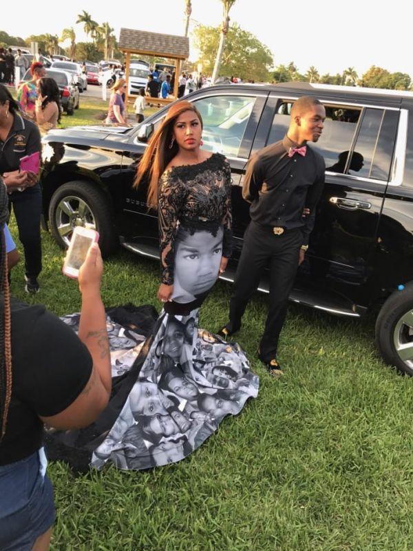 Американка надела на выпускной платье с лицами афроамериканцев, застреленных полицией (5 фото)