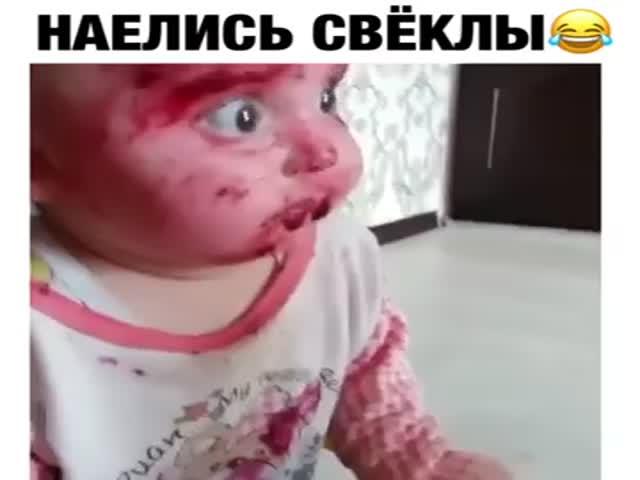 Дети измазались свеклой