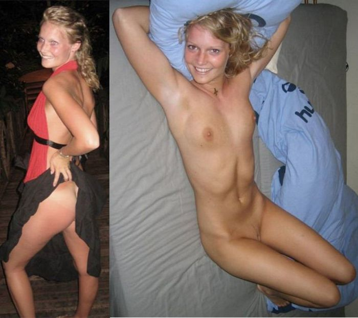 Девушки в одежде и без нее (17 фото)