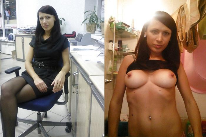 Девушки в одежде и без нее. Часть 2 (26 фото)