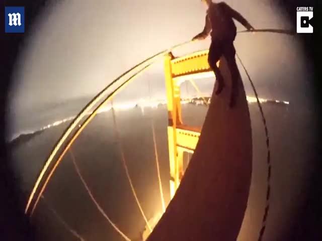 Руферы забрались на мост Золотые Ворота в Сан-Франциско