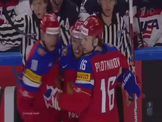 На чемпионате мира по хоккею сборная США обыграла сборную России со счетом 5:3