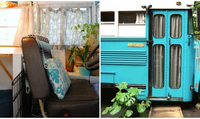 Дом на колесах из старого школьного автобуса (15 фото)