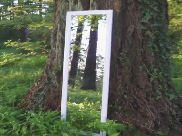 Оптическая иллюзия с бесконечным проходом через зеркало