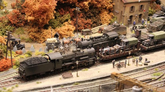 Диорама немецкой железнодорожной станции (46 фото)