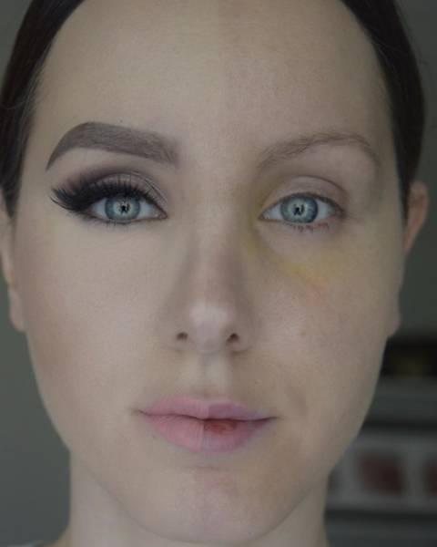 Девушки красят только одну половину лица (25 фото)