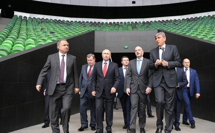 Президент ФИФА Джанни Инфантино и Владимир Путин посетили стадион ФК «Краснодар» (4 фото)