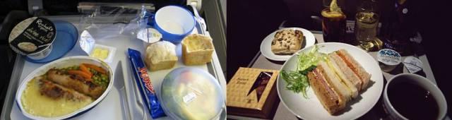 Обеды пассажиров эконом-класса и бизнес-класса в разных авиакомпаниях (14 фото)