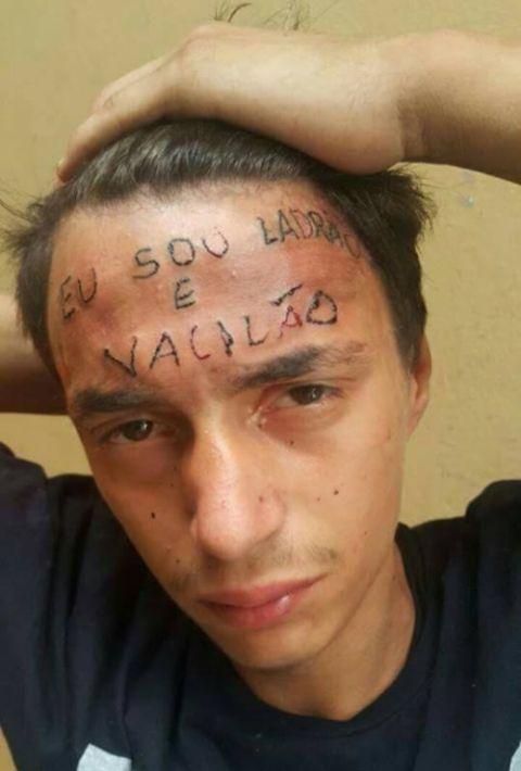 В Бразилии несовершеннолетнего вора наказали татуировкой на лбу (фото + видео)