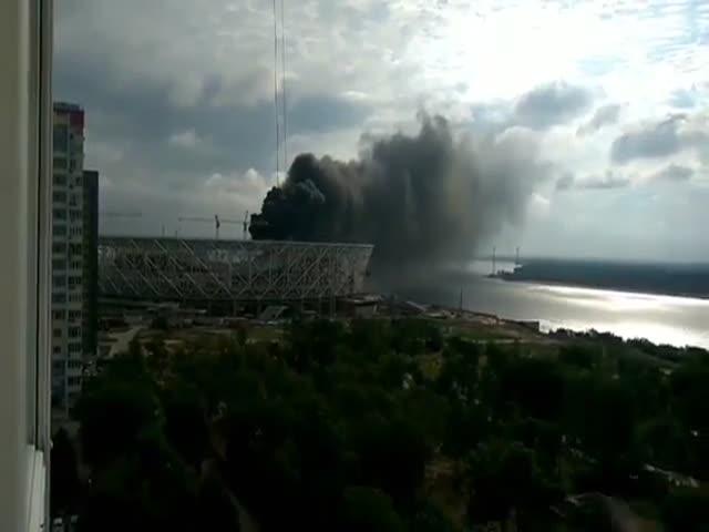 Пожар на стадионе «Волгоград Арена» в Волгограде