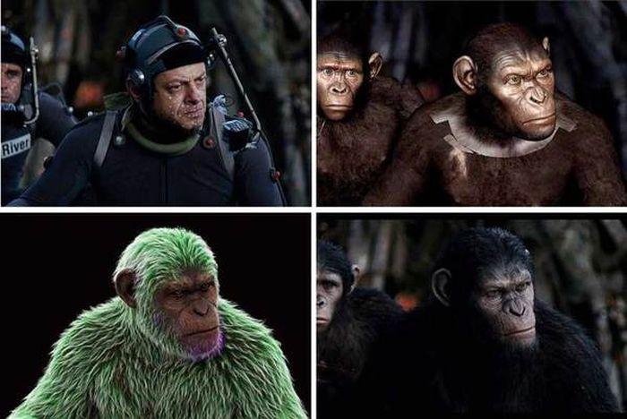 Кадры из фильма «Планета обезьян: Революция» с компьютерной графикой и без нее (20 фото)