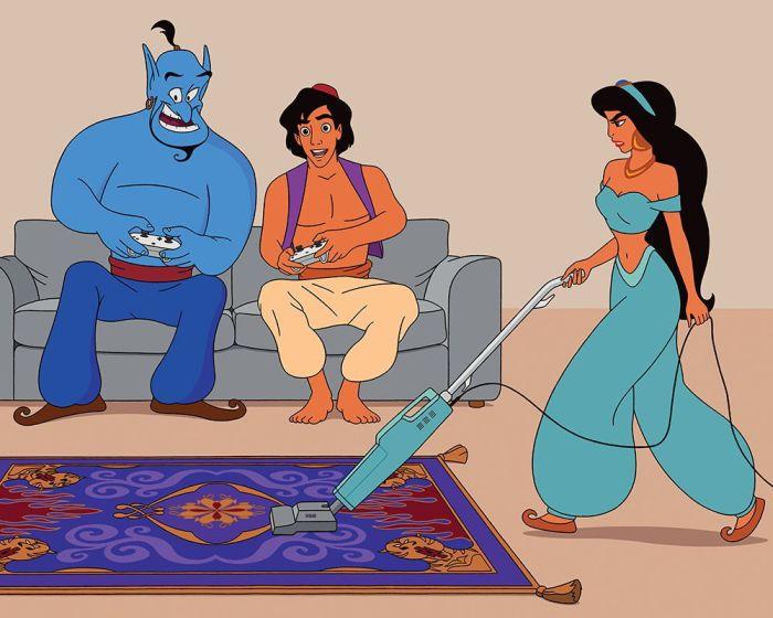 Даже волшебные ковры нужно чистить. Художник перенёс диснеевских персонажей в 2017 год, и у них всё плохо (10 фото)