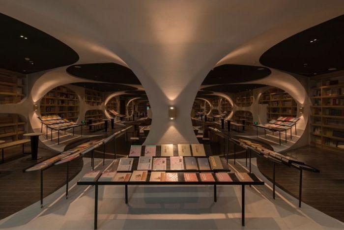 «Бесконечный» книжный тоннель в китайской библиотеке (6 фото)