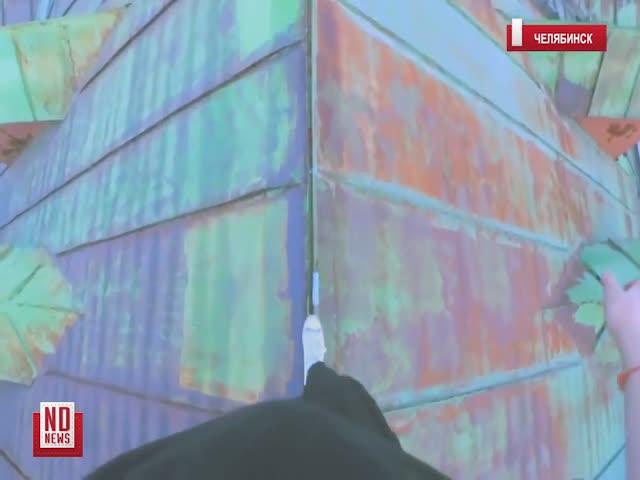 Руферы залезли на храм Александра Невского в Челябинске