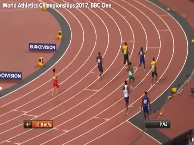 Усейн Болт финишировал третьим в забеге на 100 метров