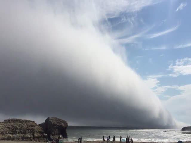 Туманное облако прошло над калифорнийским пляжем